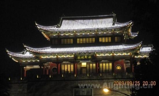 武汉晴川阁古建筑夜景灯光照明设计分析图片