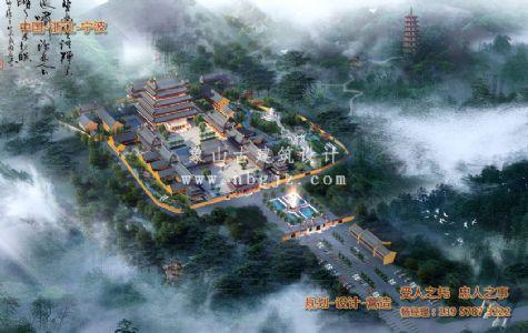 浙江台州广化寺总体寺院仿古建筑设计